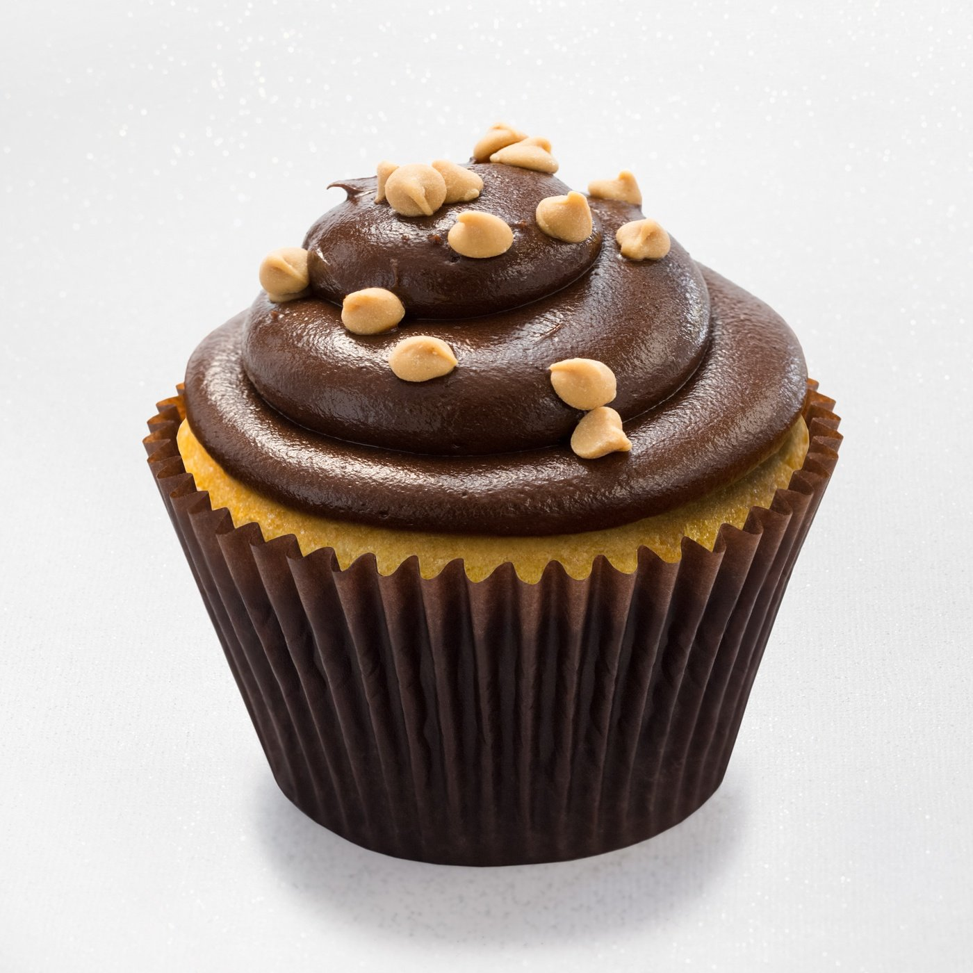 Peanut butter cupcake with dark chocolate fudge